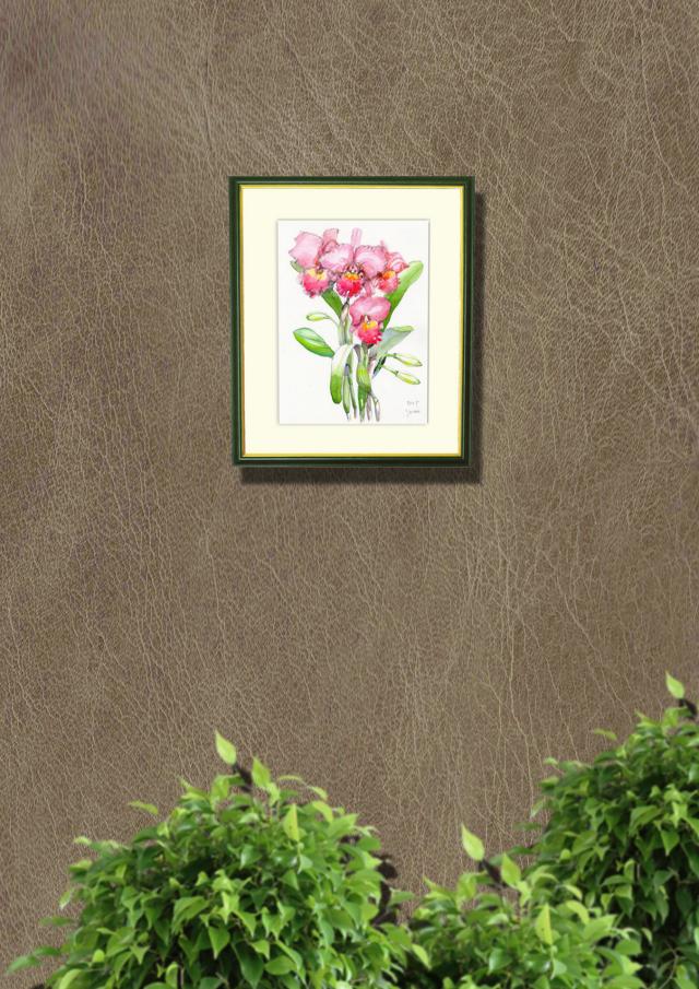 志村好子「カトレア(ピンク)」水彩画(絵寸252×330・額寸347×423mm)