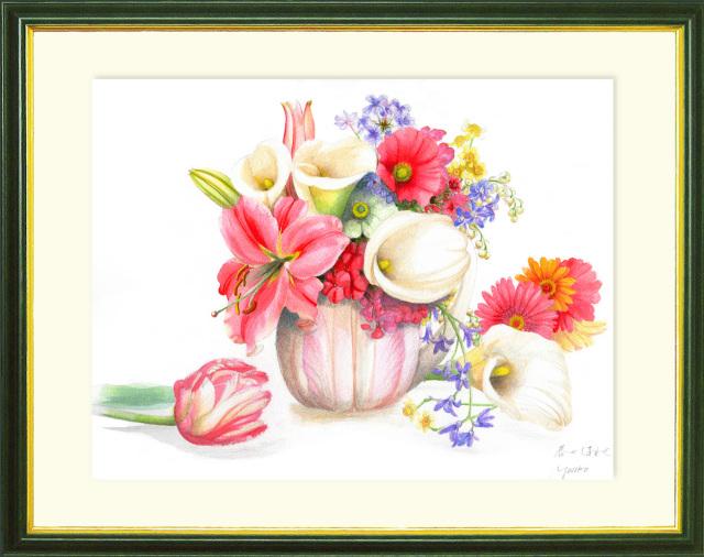志村好子「春のしあわせ」水彩画(絵寸337×408・額寸392×507mm)