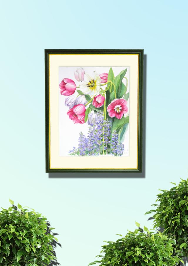 志村好子「春の庭(チューリップ)」水彩画(絵寸337×408・額寸392×507mm)