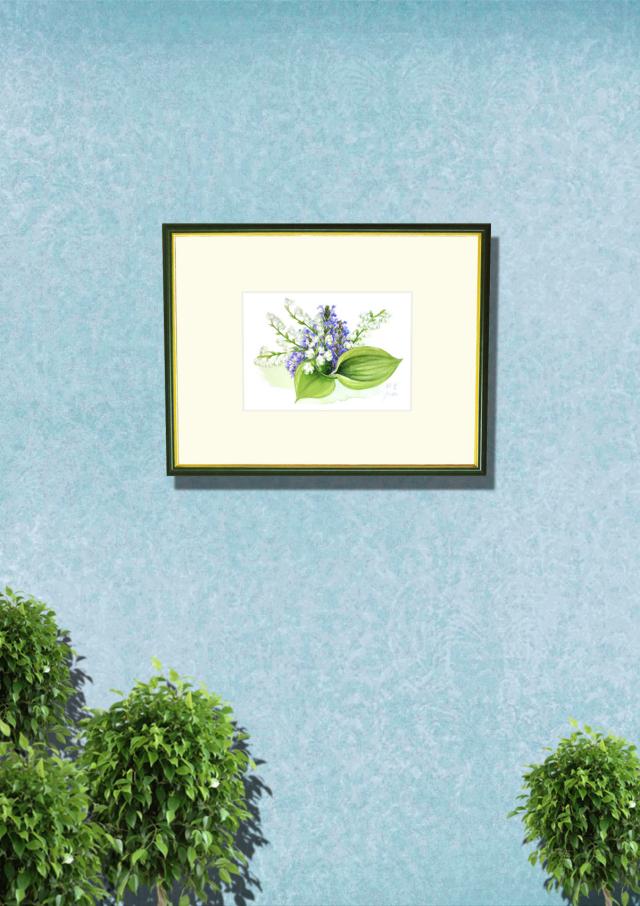 志村好子「鈴蘭」水彩画(絵寸147×210・額寸318×410mm)