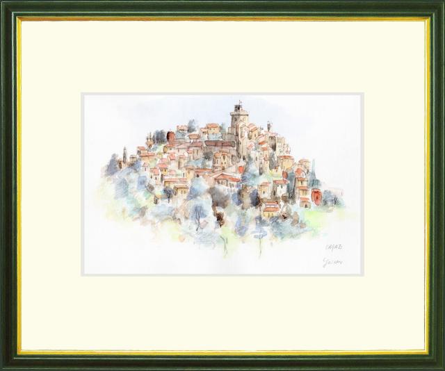 「CAGNES(カーニュ・フランス)」ヨーロッパ風景画・志村好子・水彩画(絵寸186×280:額寸377×454mm)