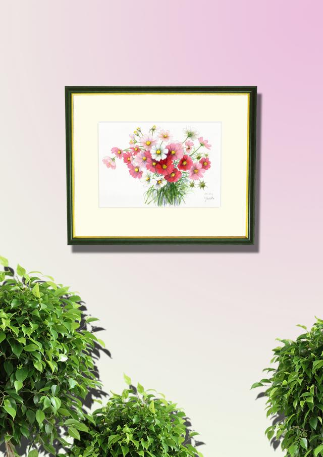 志村好子「コスモス」水彩画(絵寸210×297・額寸347×423mm)