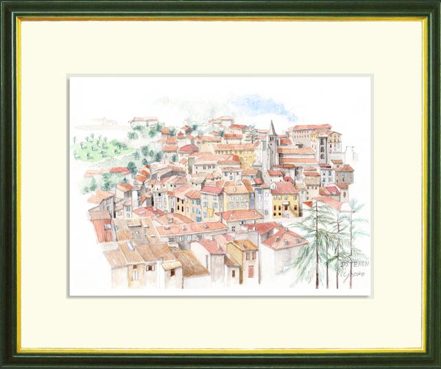 ヨーロッパ風景画 「中世の街 SISTERON(シストロン)」水彩画(絵寸210×297・額寸377×454mm)志村好子