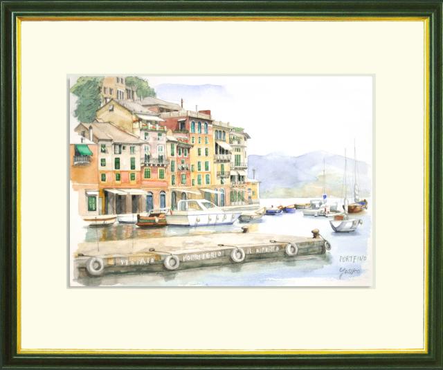 ヨーロッパ風景画 「PORTFINO(ポルトフィーノ・イタリア)」水彩画(絵寸210×297・額寸377×454mm)志村好子