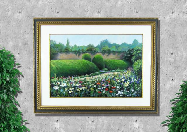 ヨーロッパ風景画・アンドリュープライス「フラワーボーダー・バーリントンコート」アクリル画・額寸700×920mm