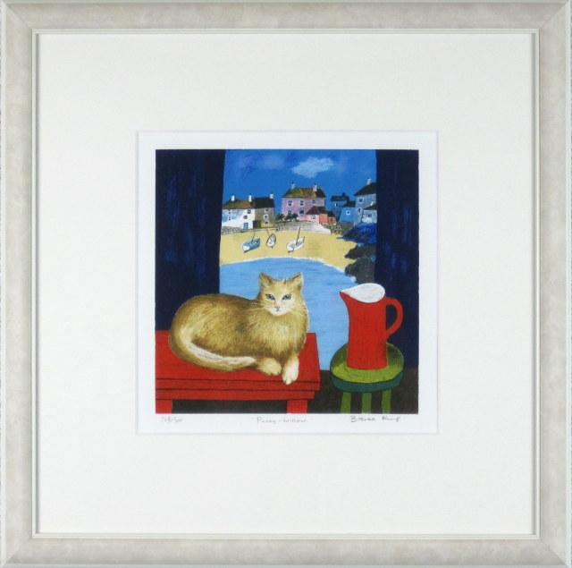 ブレンダ・キング「窓辺の猫」リトグラフ  外寸・450×450mm