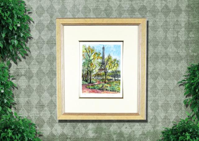フランス風景画・キャンビエ 「エッフェル塔 」リトグラフ・額寸474×435mm