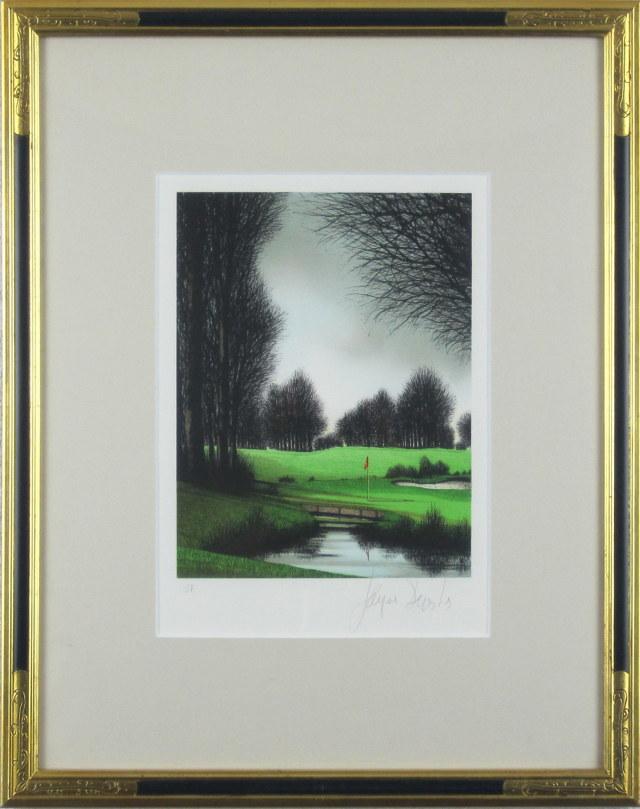 ヨーロッパ風景画・ デペルト「ゴルフ場」 リトグラフ・外寸574×435mm