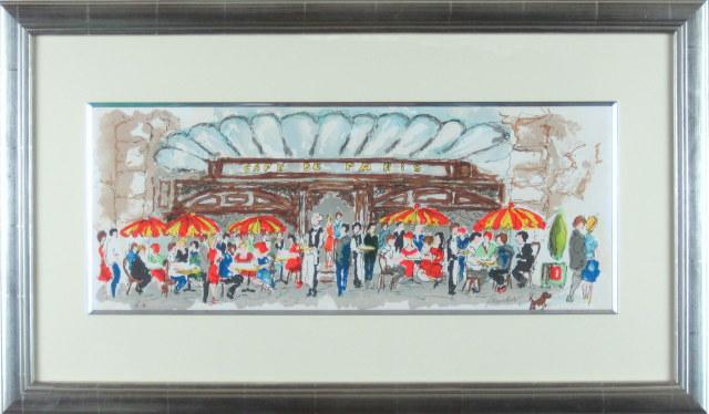 ヨーロッパ風景画・ ウシェ「カフェド・パリ」リトグラフ・外寸450×760mm