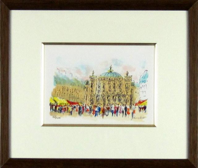 ヨーロッパ風景画・ウシエ「パリ」リトグラフ・外寸494×454mm