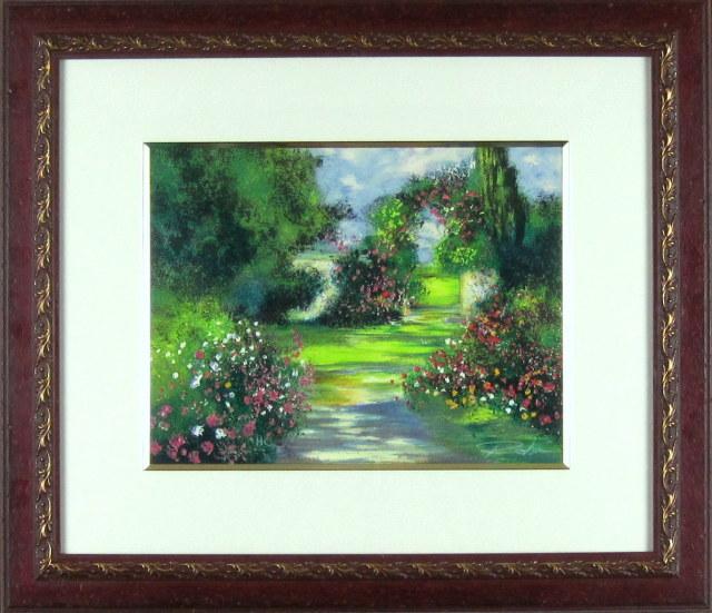 ヨーロッパ風景画・ ロビック「花咲く門」リトグラフ・外寸513×593mm