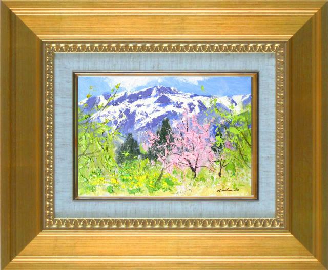 足立一夫「春の谷川岳」油彩SM・額寸410×341mm