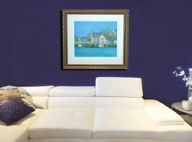 ブーリエ「青のきらめき」リトグラフ・限定300・787×872mm