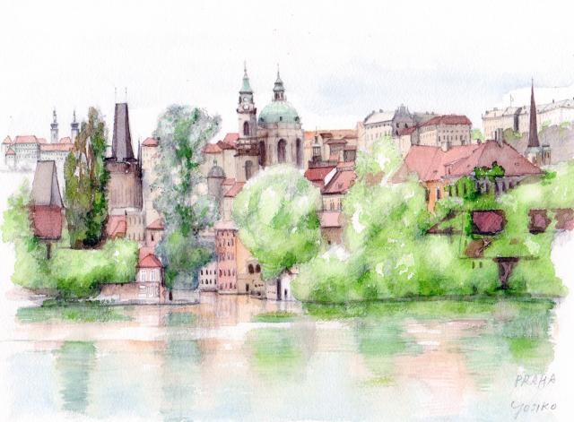 PRAHA(プラハ)」ヨーロッパ風景画・水彩画(絵寸252×332・額寸377×454mm)志村好子