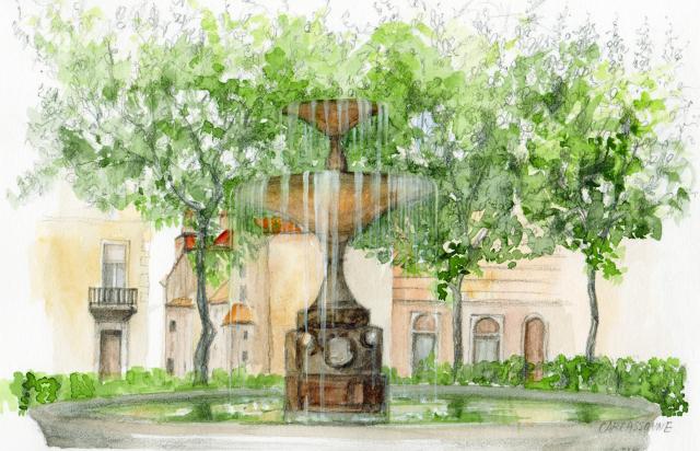ヨーロッパ風景画「Carcassonne(カルカソンヌ)」水彩画(絵寸186×280:額寸377×454mm)志村好子