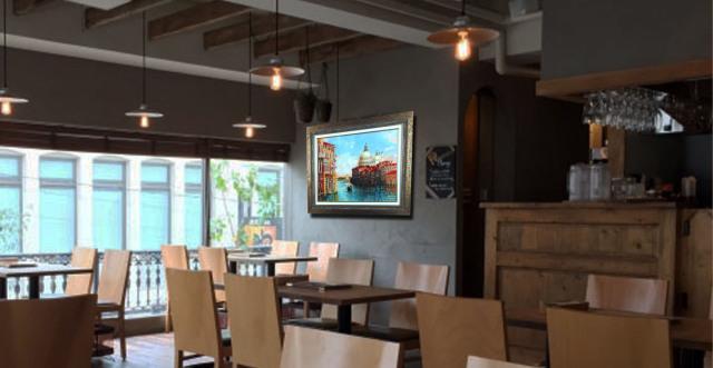 イタリア風景画・志村好子「VENEZIA」油彩・F15・額寸750×873mm