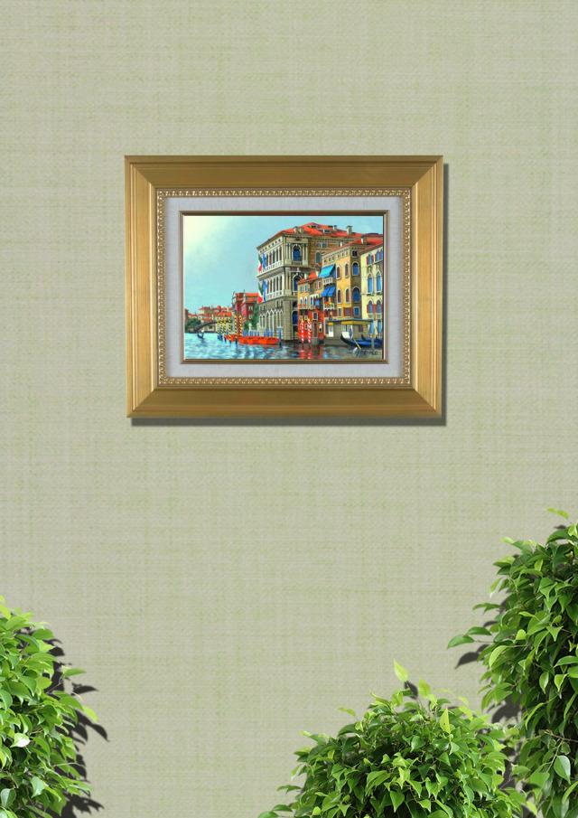 志村好子「VENEZIA」イタリア風景画・油彩・F4・額寸535×535mm
