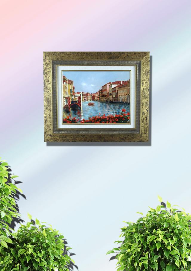 志村好子「VENEZIA」イタリア風景画・志村好子 「VENEZIA」油彩・F6・額寸557×465mm