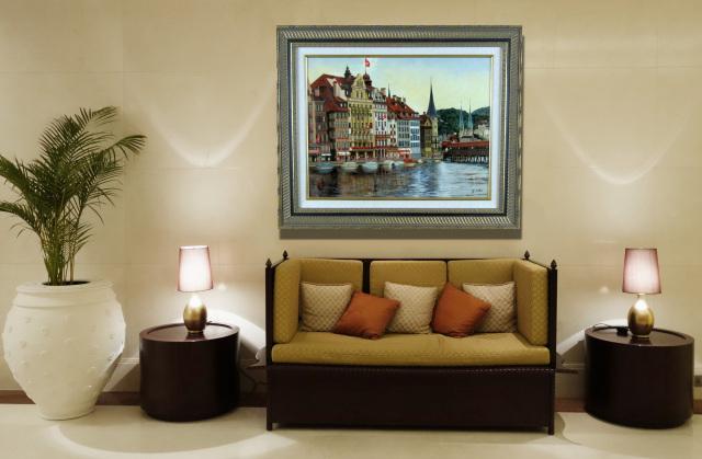 スイス風景画・志村好子「名曲の街ルッツェルン」油彩・P10・額寸587×707mm