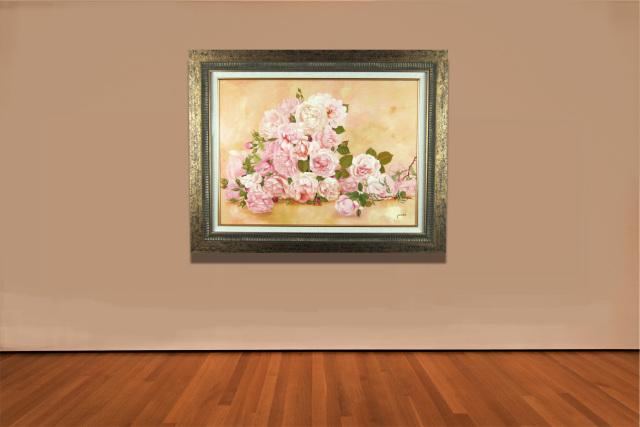 """花の絵・志村好子「薔薇の笑>み」 油彩・P20・額寸750×945mm""""薔薇の花園"""""""