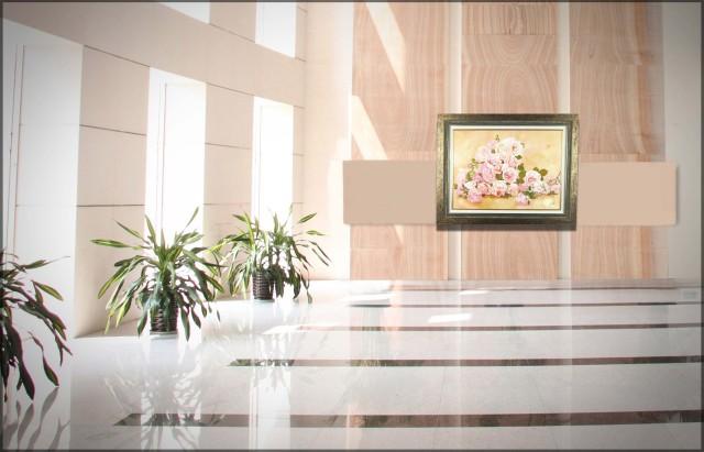 """花の絵・志村好子「薔薇の笑み」 油彩・P20・額寸750×945mm""""薔薇の花園"""""""