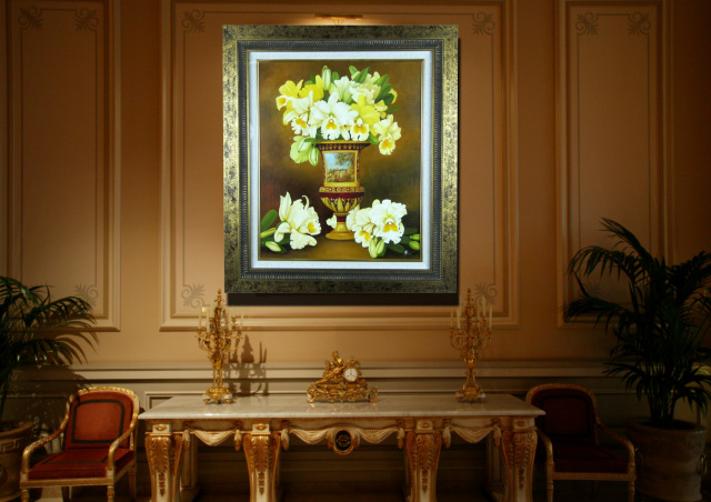 """黄色カトレアの絵・志村好子「絵のある壺」油彩・F12・額寸750×628mm""""黄金色のカトレア"""""""