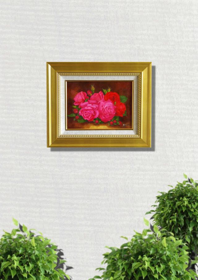 バラの絵・志村好子「薔薇」F4・油彩・額寸426×516mm