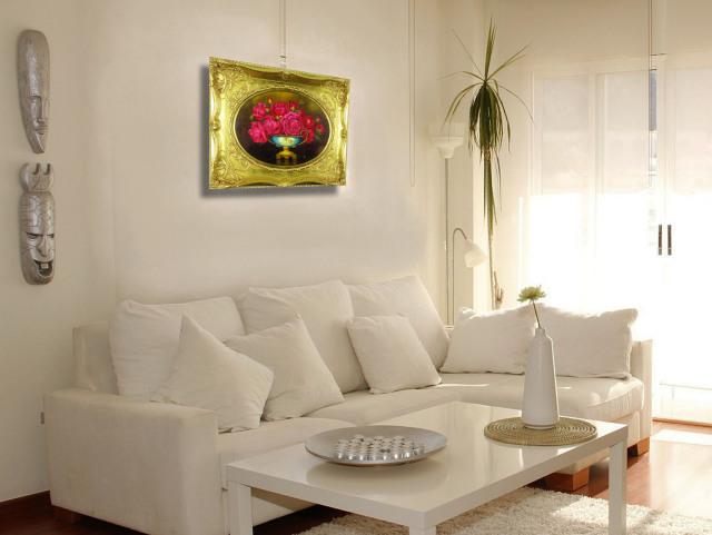 薔薇の絵・志村好子「薔薇」(赤色)油絵・F6変形丸型・額寸475×575mm