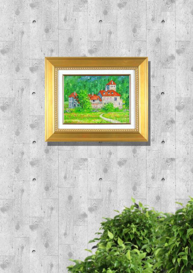 """緑が美しいスイスの風景画・梅沢民雄「スイス風景画」油彩画・F4・油彩・額寸426×518mm""""明るい緑のスイスの山里"""""""